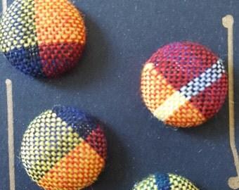 Four Buchanon Tartan Fabric Buttons