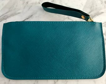 Monogram Saffiano Leather Pouch Wristlet, Handmade in Bleu De France, size small