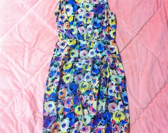 80s 90s Adrianna Papell Vintage Silk Floral Dress / Colorful Rainbow Watercolor Floral Vintage Dress