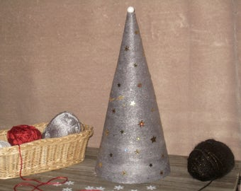 Grey wool glued - 40 cm Christmas tree