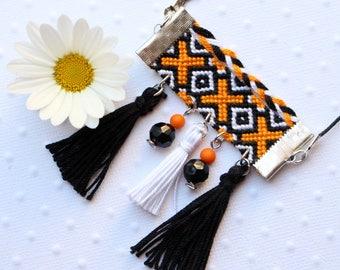 Collier ethnique style bracelet brésilien et pompons