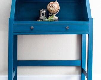 SOLD - Blue Desk, Entry Table, Chalk Paint Furniture, Annie Sloan Painted Furniture, Annie Sloan Aubusson, Annie Sloan Scandinavian Pink