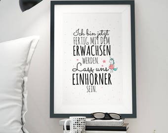 A3 Print Illustration Poster Unicorn Quote P43
