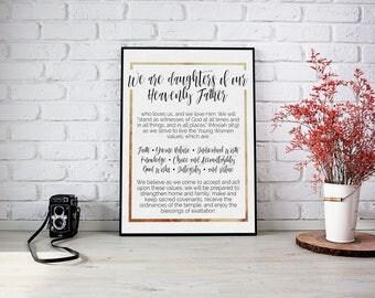 Young Women Theme Sign Printable // LDS Printable // YW Theme // Gold Foil YW Theme