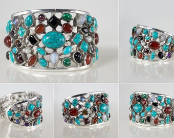 Gemstone Cuff Bracelet in Sterling Silver