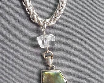 Labradorite and Rock Crystal Pendant on Sterling Silver Necklace