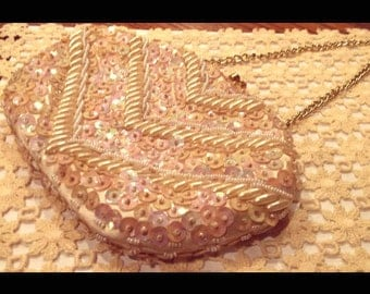 1960s La Regale pearl, sequined and beaded clutch purse