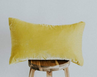 "Yellow Silk Velvet Pillow Cover Lumbar ""Penelope"""