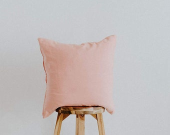 "Blush Linen Throw Pillow Cover Square Contemporary Collection 20x20 ""Elda Rose"""