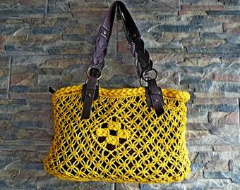 Yellow Straw Handbag,Woven Straw Handbag,Yellow Purse,Boho Shoulder Bag,Yellow Boho Purse,Summer Handbag,Macrame Bag,Summer Boho Bag