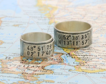 Ring with coordinates, silver, customizable, longitude, latitude, longitude, latitude, handstamped, stamped