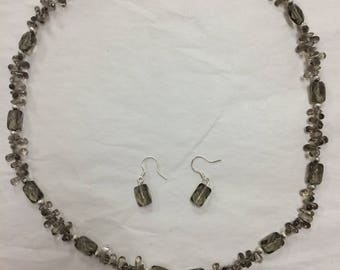 Beautiful Mother of Pearl Pendant and Beaded Necklace and Earring Set