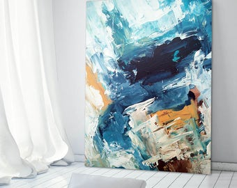 CANVAS ART Abstract Print Wall Art, Large Wall Art, Blue Abstract Print, Giclee Print Large Abstract Art Print from Painting Modern Abstract