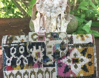 Vintage 70's Tapestry Woven Abstract Wallet