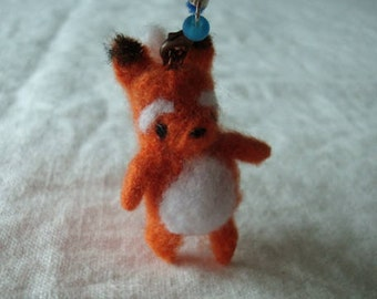 Needle felted fox/squirrel plush keychain