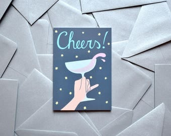 Blue Greeting Card Cheers A6 with silver envelope Party Invitation New Year's