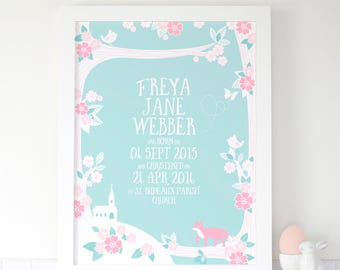 Personalised Girls Christening Print With Fox