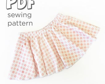 Baby and Toddler Skirt Sewing Pattern Download, 0-3 Months - 5T. Full Circle Skirt. Cute Summer Sewing Project. Print from Home!