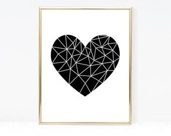 Geometric Art Wall Art - Instant Download - Printable Poster: Dark Heart; Wall Decor - Geometric Print - Heart Wall Art - Abstract Art