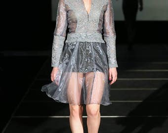 Exclusive Lace and Organza Skirt Suit