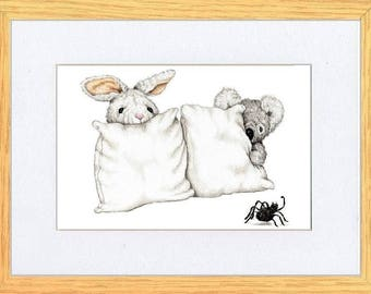 I don't Like Spiders Bunny and Koala Art print by Kevin Wood