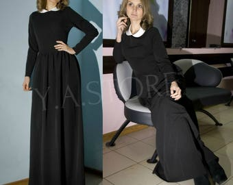 Vintage Black and White Winter Maxi Dress Autumn Woman Long Dress with Peter Pan Collar