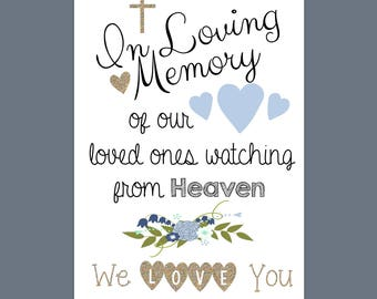 In Loving Memory sign, printable