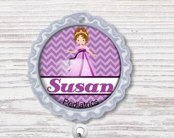 Nurse Badge Reel | Pediatrics Bottle Cap Badge Reel | Princess Badge Reel | Bottle Cap Retractable Badge Reel | Nurse Badge Reel | CNA Badge