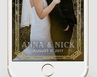 Custom Snapchat Geofilter   Wedding Snapchat Geofilter   Gold Deco   Gatsby   Snapchat Filter