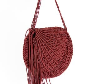 Macrame handmade festive fashioned macrame crochet bag. Classy Bordeaux red round summer purse.