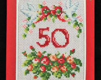 Embroidered card, greeting card, anniversary, wedding anniversary