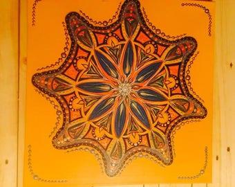 Mandala, yellow, canvas, acrylic,