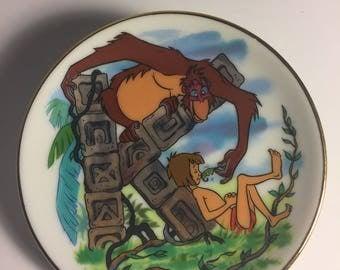 """Disney Letter K for King Louie (Jungle Book) Miniature Porcelain Plate—Vintage, Part of the """"Disney's Alphabet"""" Collection—1980s"""
