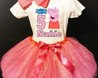 Peppa Pig 5th Fifth 5 Birthday Dress ***With NAME***  Fast Shipping Pink fuchsia party Shirt & Tutu outfit