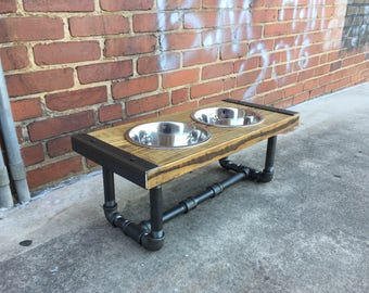 Dog Feeder, Dog Furniture, Raise Dog Feeder, Industrial Chic, Dog Bowl Stand, Dog Feeding, Elevated Dog Bowl, Industrial, Pet Furniture, Dog
