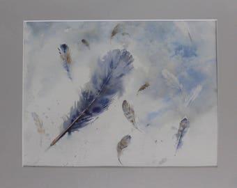 Falling Feathers - Original Watercolour by Sue Rubira