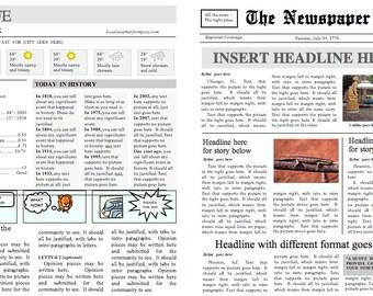 newspaper word template