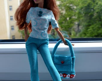 Barbie doll  clothes # Barbie pants with pockets # Barbie shirt # barbie bag # Barbie clothes#Barbie set.