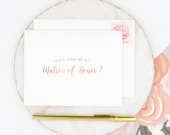 Rose Gold Foil Matron of Honor Card, Will You Be My Matron of Honor Card, Wedding Party Card, Bridal Party Card, Gold Matron of Honor Card