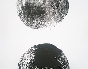 Monde | Original oil, Linoschnitt, black white, moons, planets, A4