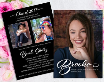 Graduation Invitation, Graduation Announcement, Custom Photo Party Invitation, Order Printable file or Printed Cards, 5x7 - 2 sides