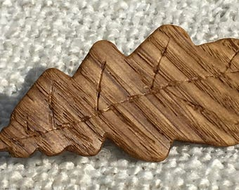 Wooden Oak Leaf Brooch