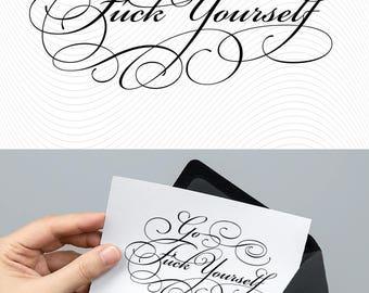 SVG Calligraphy Birthday Card Design. Print or Cut Instant Download File. Joke Gratefully Сompliment Fun Thankful Card Cricut Explore