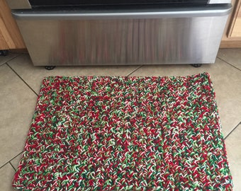 Red, Green & White Crochet Rug