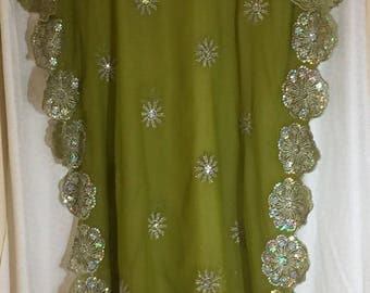 Green Sheer Caftan Silver Sequins Embroidered Kaftan Chartreuse Caftan Sheer Cover Up Ankle Length Silver Embroidered Flowers One Of A Kind