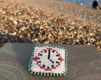 Upcycled Cross Stitch and Bead Embroidery Clock Brooch