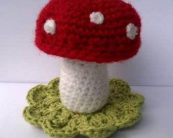 Crocheted toadstool, decoration, fancy pincushion