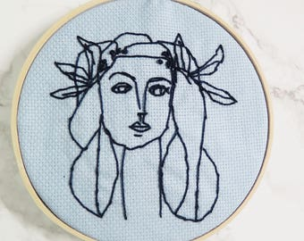 Picasso Embroidery Hoop Art