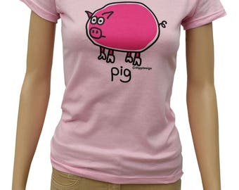 Womens oink PIG fitted light pink T.shirt.