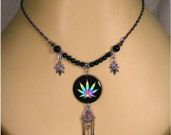 Black Onyx & Amethyst Gemstone Rainbow Cannabis Leaf Necklace